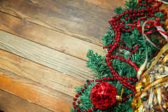 Christmas decorations on wooden background Stock Images