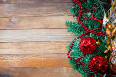 Christmas decorations on wooden background Stock Photo