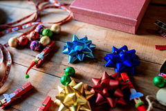 Christmas decorations on wooden background Royalty Free Stock Image