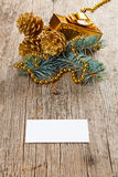 Christmas decorations on wooden board Stock Photography