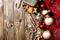 Christmas decorations on wooden board royalty free stock images