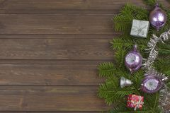 Christmas decorations on a wooden board. Stock Images