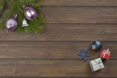 Christmas decorations on a wooden board. Stock Photo