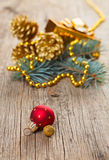Christmas decorations on wooden plank Stock Photo