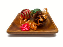 Christmas decorations on wooden plate Stock Photography