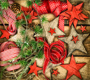 Christmas decorations wooden stars and red ribbons for gifts wra Royalty Free Stock Photography