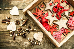 Christmas decorations wooden stars and red ribbons. retro style Royalty Free Stock Images