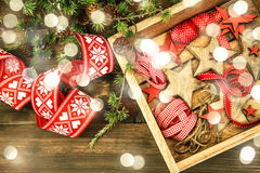 Christmas decorations wooden stars red ribbons. Vintage style li Royalty Free Stock Photos