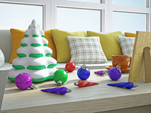 Christmas decorations on a wooden table Stock Images