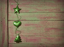 Christmas decorations and wooden table. Stock Photography