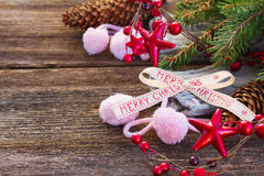 Christmas decorations with  wool socks Stock Images