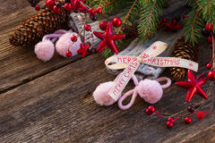 Christmas decorations with  wool socks Royalty Free Stock Photography