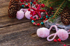 Christmas decorations with  wool socks Stock Photos
