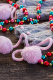 Christmas decorations with  wool socks Royalty Free Stock Photos