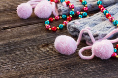 Christmas decorations with  wool socks Stock Photography