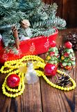 Christmas decorations on woooden background Stock Photography