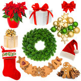 Christmas decorations wreath, hat, red sock, gift box, baubles, Stock Photography