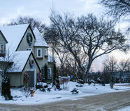 House with Christmas decorations, Edmonton, Canada Stock Photos