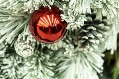 Christmas decorations, wreaths and balls, new year holiday.  stock image