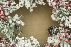 Christmas decorations, wreaths and balls, new year holiday.  royalty free stock images