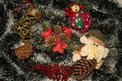 Christmas decorations and wreaths stock photography