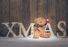 Christmas decorations - xmas tree letters and bear Stock Photo