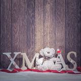 Christmas decorations - xmas tree letters and bear Stock Photos