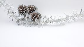 Christmas decoration pine cones. Soft white background. Christmas decorationwith three pine cones. Silver ribbon, soft white background Stock Image