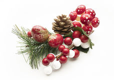 Christmas decorative adornment over white background Royalty Free Stock Photo