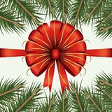 Christmas decorative backdrop of colorful pine branches and decorative ribbon on white background. Vector illustration Stock Photo