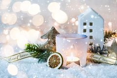 Christmas decorative background with candle Royalty Free Stock Photos