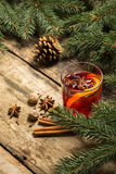 Christmas decorative background with mulled wine Stock Image