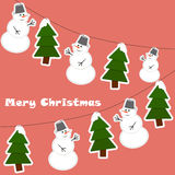 Christmas decorative background. With snowman and christmas-tree. Vector illustraion Royalty Free Stock Photos