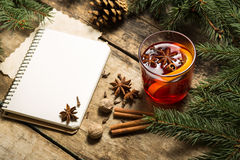 Christmas decorative background with traditional hot drink. Stock Photos