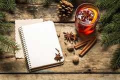 Christmas decorative background with traditional hot drink. Stock Photo