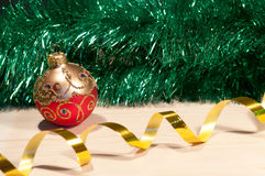 Christmas decorative ball on a wood Royalty Free Stock Photos