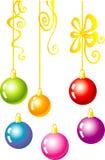 christmas decorative balls with gold ribbon Royalty Free Stock Image