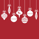 Christmas decorative baubles on red background Royalty Free Stock Photo