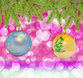 Christmas decorative blue and yellow ball on bokeh background Royalty Free Stock Image
