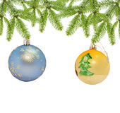 Christmas decorative blue and yellow ball on white background Stock Photos