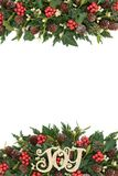 Christmas Decorative Border. Christmas decorative background border with gold joy decoration, holly, ivy, mistletoe, fir and pine cones on white Royalty Free Stock Image