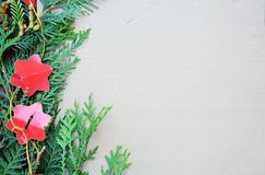 Christmas decorative border. On the vintage cardboard background Royalty Free Stock Photography