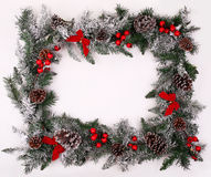 Christmas decorative border with pine cones and holly berries Stock Photo
