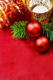 Christmas decorative candles and baubles. Royalty Free Stock Image