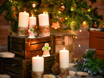 Christmas decorative candles Royalty Free Stock Photos