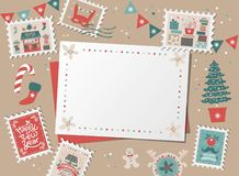 Christmas decorative card, border, frame royalty free illustration