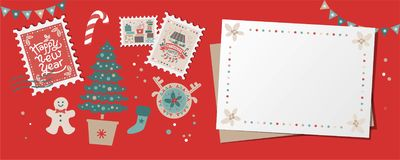 Festive Christmas border, frame, card. With Christmas tree and festive decorations garland, sock, stamps. Christmas market and Happy New year sign. Christmas stock illustration