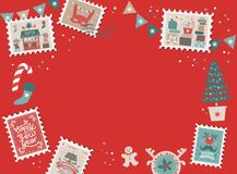 Festive Christmas border, frame. With Christmas tree and festive decorations garland, sock, stamps. Christmas market and Happy New year sign. Christmas template stock illustration