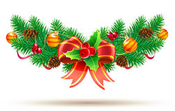 Christmas decorative composition. Vector illustration of cool Christmas composition with evergreen branches, red bow and ribbon Stock Photography