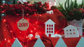 Christmas decorative composition of buildings and stock video